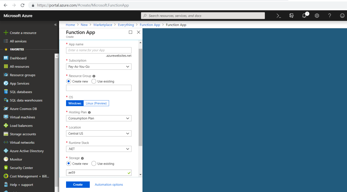 Azure Function New Function App