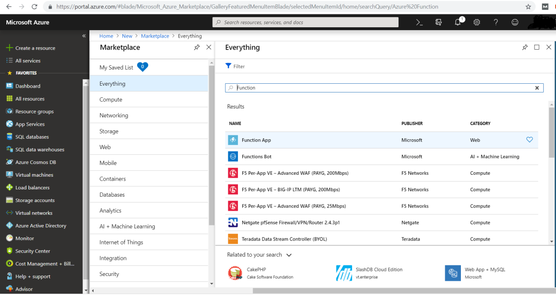Azure Portal Search