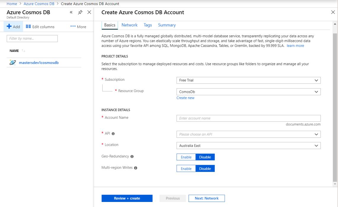 Azure CosmosDb Create 1