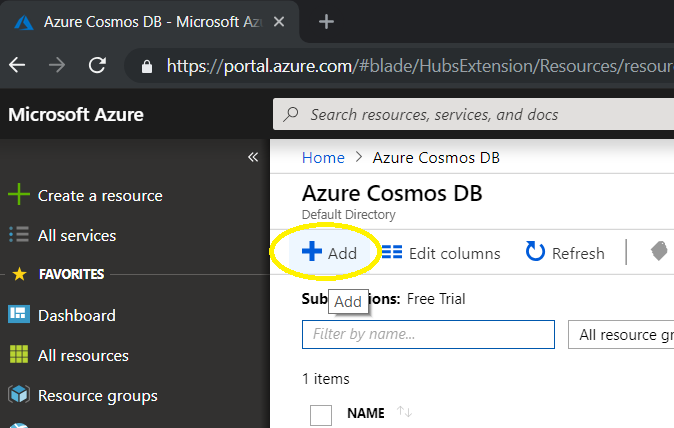 Azure CosmosDb Menu 2 Add