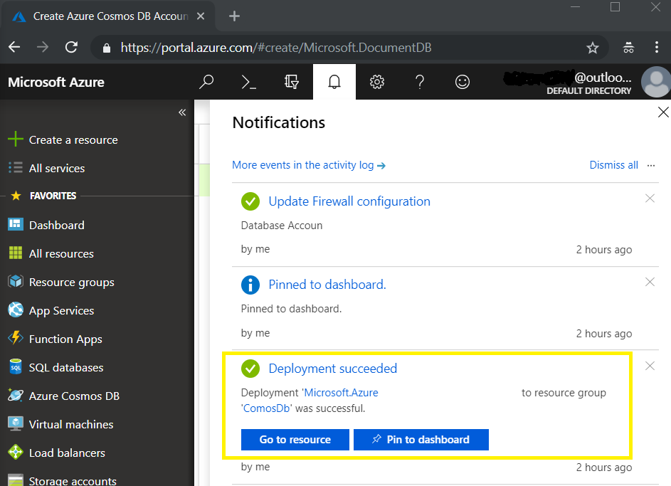 Azure CosmosDb Notification1