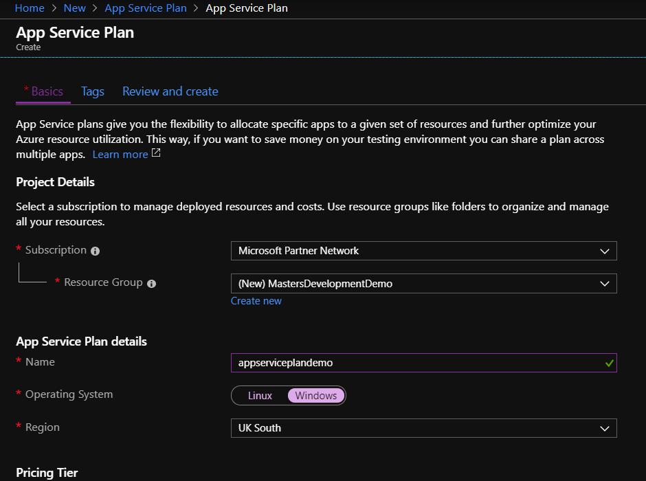 Defining an App Service Plan Details