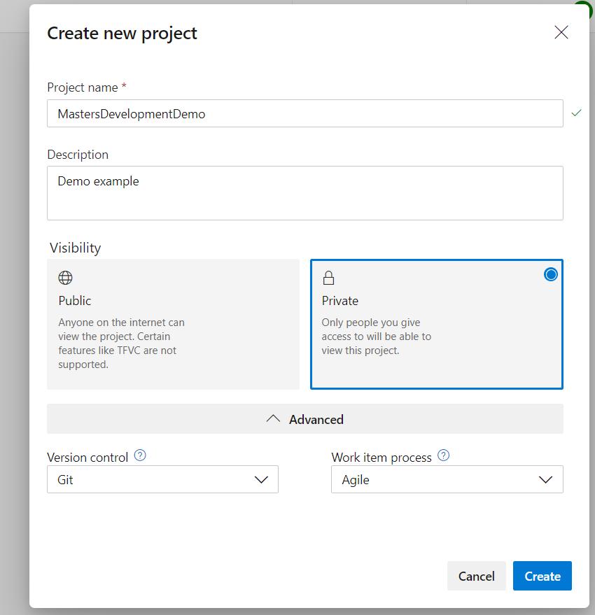 Create an Azure DevOps Project