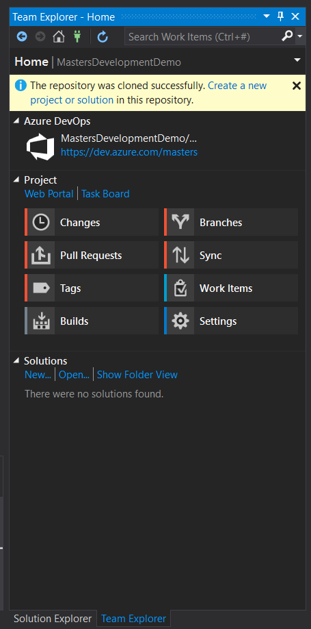 Create a solution in a cloned Repo in Visual Studio