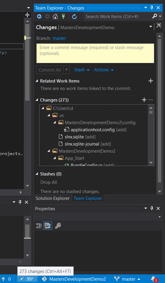 Commit code locally in Visual Studio
