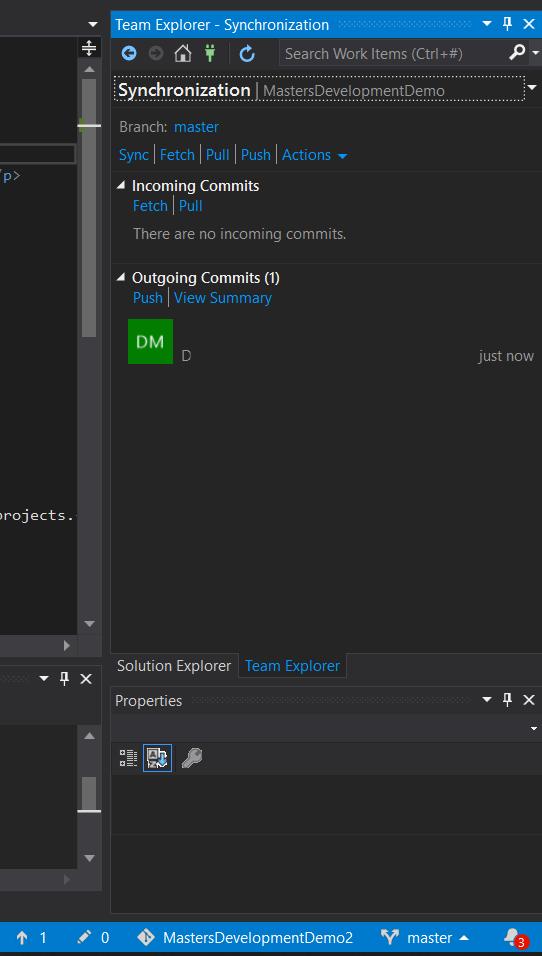 Push commits to repo in Visual Studio