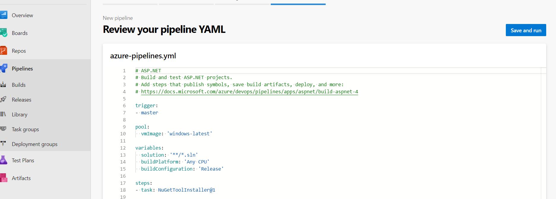 Review YAML Azure DevOps pipelines