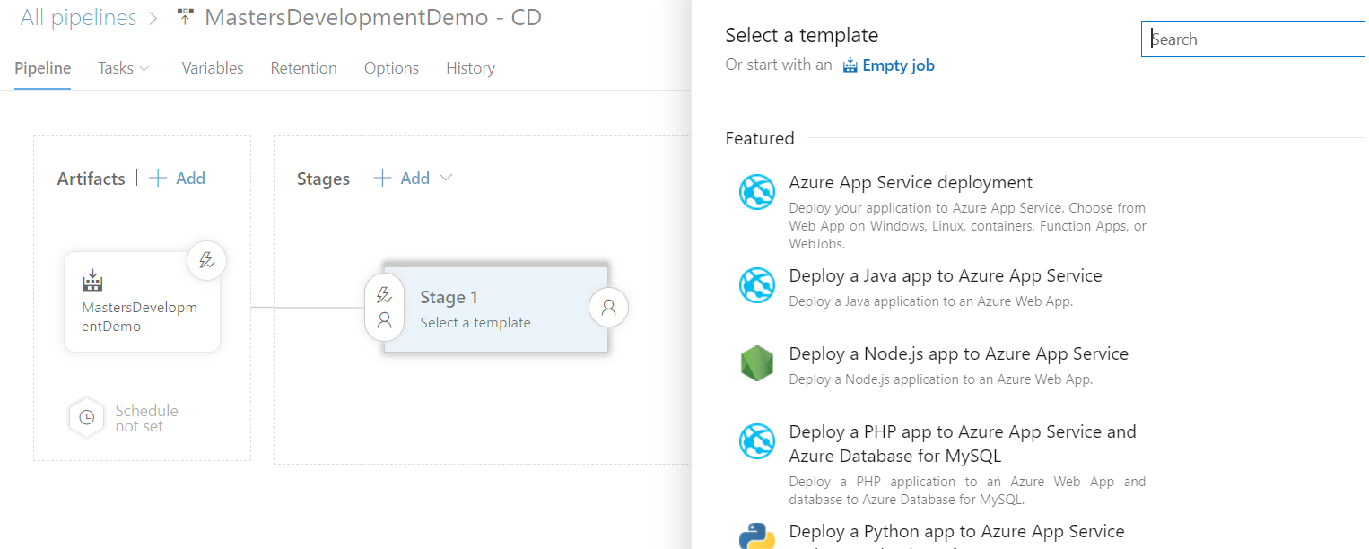 Adding template to Release Pipe Azure DevOps