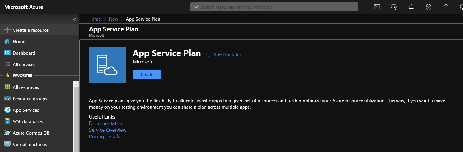 Creating an app service plan in Azure.